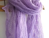 luxurious lavender lace shawl, hand knitted