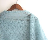 BLACK FRIDAY SALE mint lace stole, hand knitted, on sale 15% off