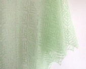 knit lace shawl, triangular, soft and delicate, pale green, halo effect