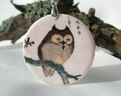 Wise Owl With Chinese Symbols, Polymer Clay Necklace