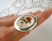 Gentle Vintage Rose Flower,Silver Plated Drop Cabochon Setting on a Ring