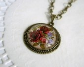 Vintage Burgundy Rose Flowers And The Sweet Peas , Bronze Plated Drop Cabochon Setting on a Chain