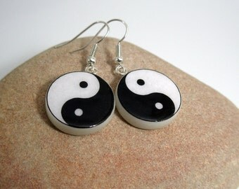 Yin-Yang Symbol Polymer Clay Earrings.