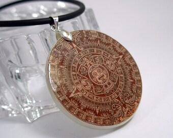 Maya Calendar Necklace Polymer Clay