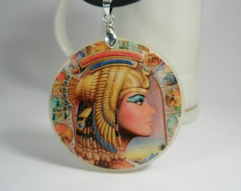 Egypt Motives, Queen Of Egypt Amulet, Necklace Polymer Clay