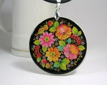 Colorful flower bunch Khokhloma, Russian folk art style amulet