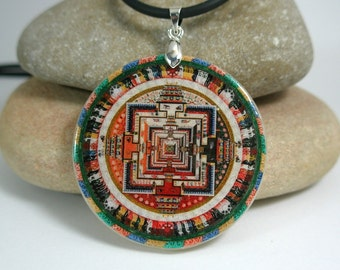 Buddhism Mandala Polymer Clay Necklace