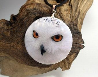 Snowy Owl Necklace Polymer Clay Medallion