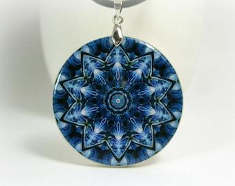 Blue Kaleidoscope Necklace Polymer Clay