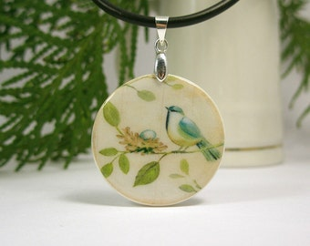 Bird On A Branch With A Nest  Vintage Print Necklace Polymer Clay