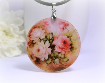 Retro Flowers Necklace Polymer Clay