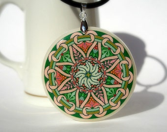 Abstract Green and Pink Ornament Colorful Necklace, Polymer Clay