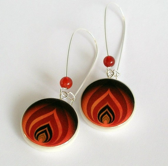 The Levels of Flame, Vector Art Polymer Clay Earring With Carnelian Beads