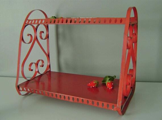 Rustic Red Metal Shelf