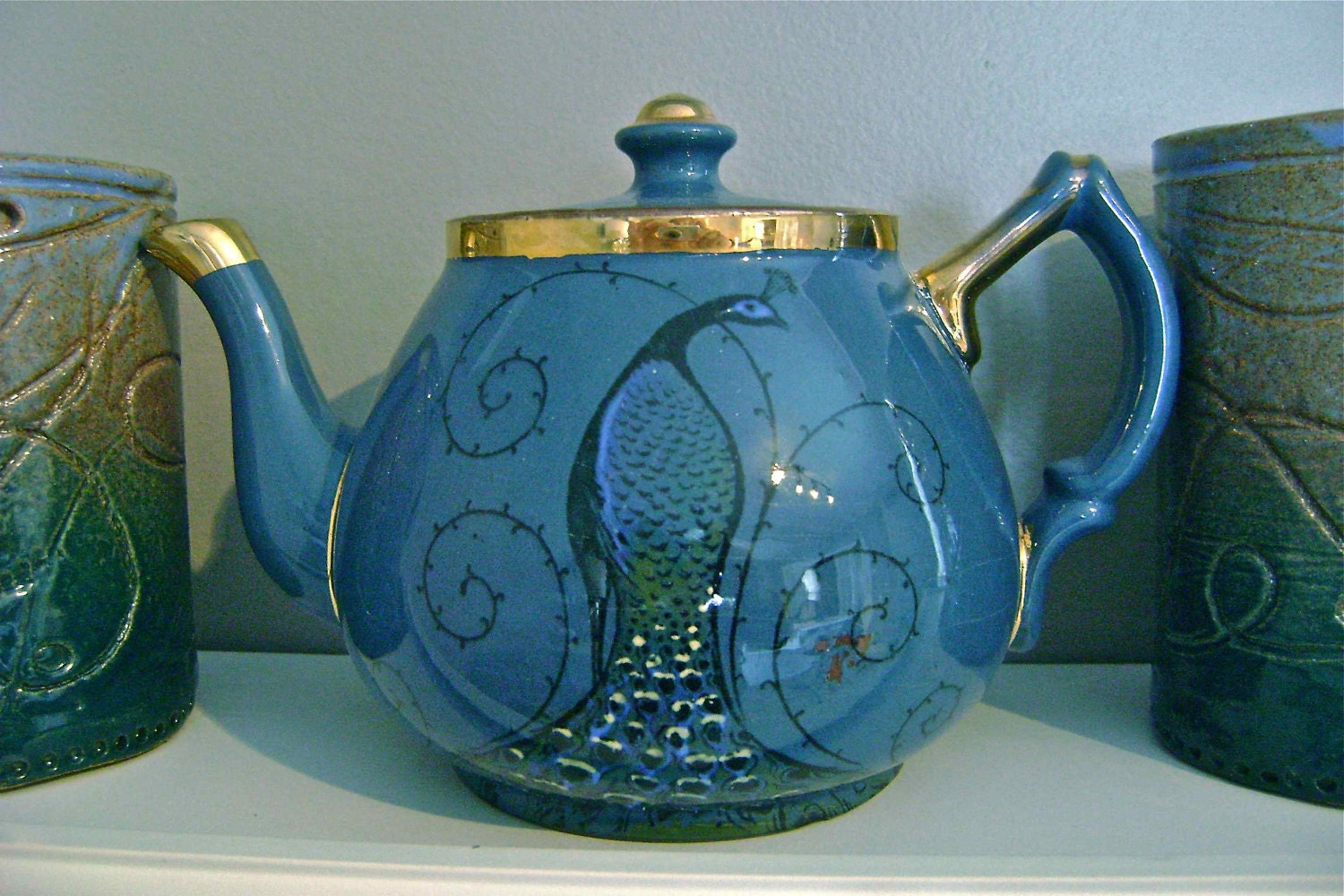 Peacock English Teapot By Vintagefrombutterfly On Etsy
