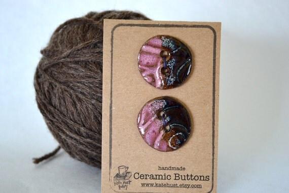 pink & brown ceramic button