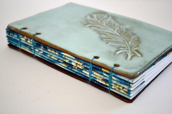 Aqua feather handmade clay journal (medium size)
