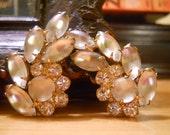 Vintage Rhinestone Bridal Clip On Earrings