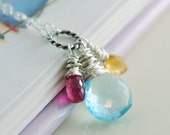 Mother's Necklace Birthstone Sterling Silver - Custom Made for Mom