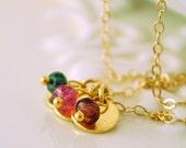 Reserved - Gold Family Necklace, Dainty Vermeil Discs, Custom Birthstone Jewelry, Wire Wrapped, Semiprecious Gemstone