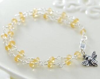 November Birthstone Bracelet, Child Children Girl Kid, Sterling Silver, Genuine Golden Citrine, Gemstone, Bumblebee Charm