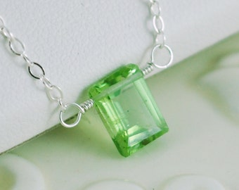 Genuine Peridot Necklace, Sterling Silver, AAA Emerald Cut, Lime Green Gemstone, Girl Teen or Woman, August Birthstone Jewelry