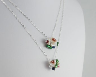Child's Necklace, Flower Girl, Blossom Keishi Keshi, Freshwater Pearl, Genuine Gemstone, Custom, Sterling Silver Jewelry, Set of Two