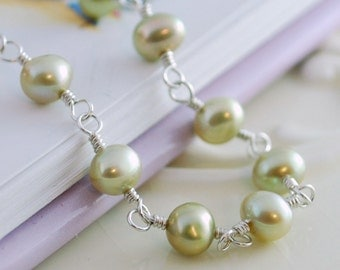 Mint Green Freshwater Pearl Bracelet Child Children Girl Sterling Silver Jewelry Genuine Green Amethyst Heart