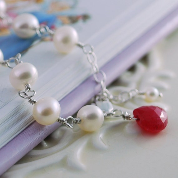 Child's Bracelet, Freshwater Pearl with Genuine Ruby, July Birthstone, Sterling Silver Jewelry