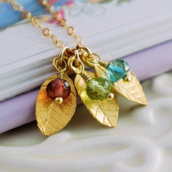 Mom Family Necklace, Dainty Vermeil Leaf Leaves, Custom Birthstone Gold Jewelry, Wire Wrapped, Semiprecious Gemstone