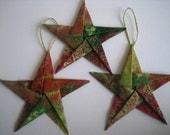 Elegant Fabric Star Origami Christmas Tree Ornaments (Set of three)