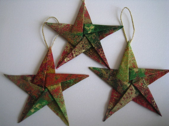 Elegant Fabric Star Origami Christmas Tree Ornaments (Set of three)
