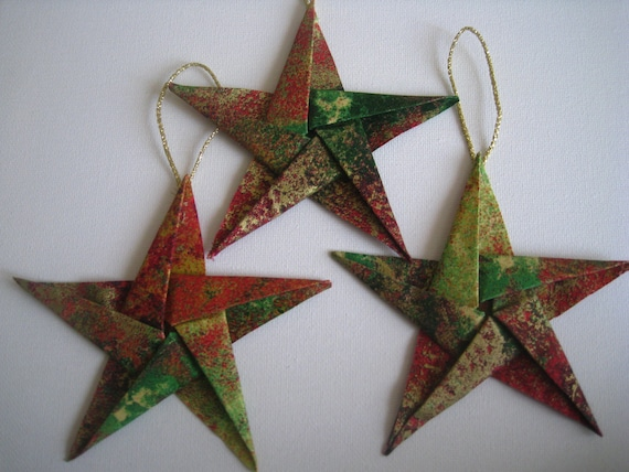 Elegant Fabric Star Origami Christmas Tree Ornaments Set Of