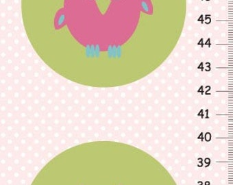 Personalized pink owls Growth Chart for girls