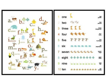 Set of 2 Prints - Art for Kids room or Nursery - ABC and 123 Animals - 11X14