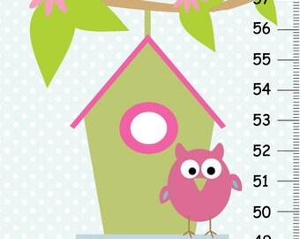 Canvas growth chart Owl nursery for girl