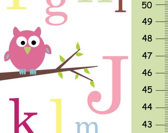Personalize Growth Chart - ABC pink owl - Baby nursery wall decor