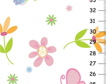Canvas Growth Chart - Butterfly garden party pink