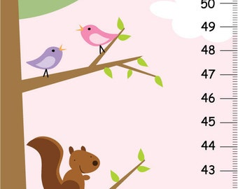 Canvas Growth Chart - Woodland Forest Friend Pink