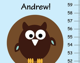 Look Whooooo's Growing...Personalized children Growth Chart