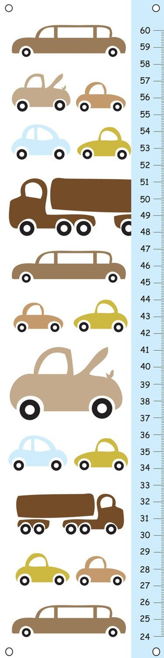 Personalized Growth chart -  Brightly Colored Vehicles
