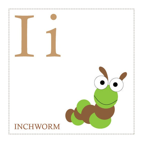 I is for Inchworm Alphabet Print