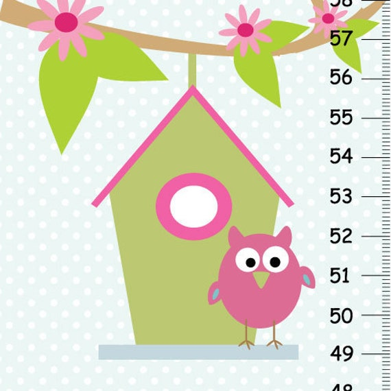 Persenalized Owl Canvas Growth Chart