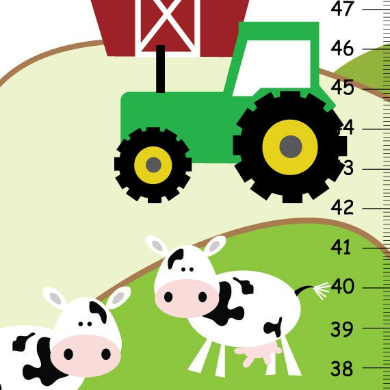 Personalized baby boy Growth Chart ,Farm Animals Cow Horse Tractor, Kids Bedroom Baby Nursery Wall Art