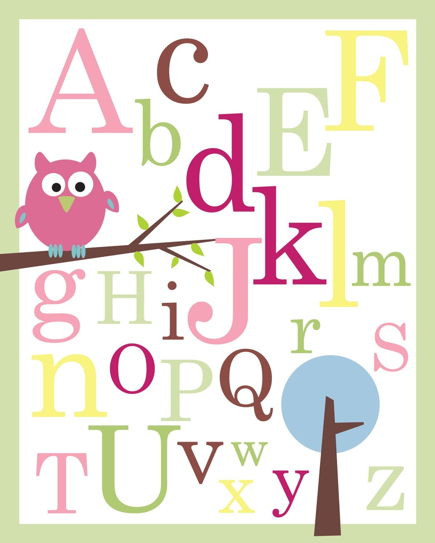 Abc Poster Print Owl On Branch Nursery Wall Decor