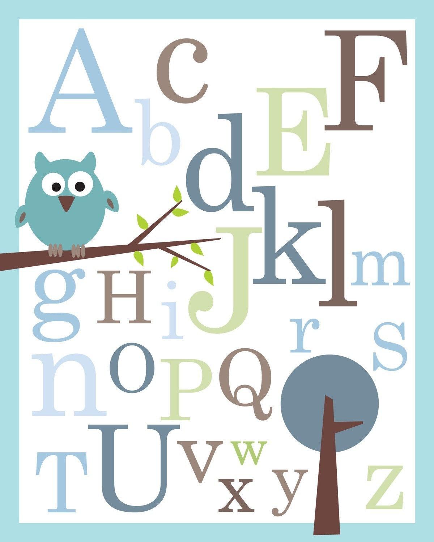 Baby Nursery Art Print Dog Abc Nursery Decor Alphabet Print: ABC Alphabet Poster Print 8X10 Baby Nursery By