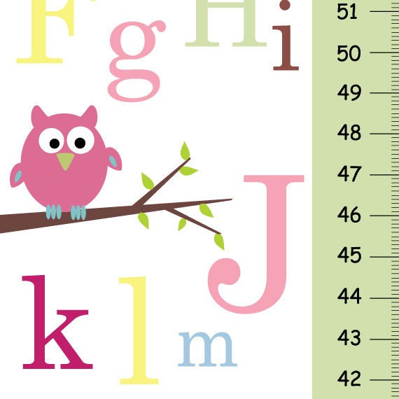 Personalize Growth Chart Abc Pink Owl Baby Nursery Wall Decor