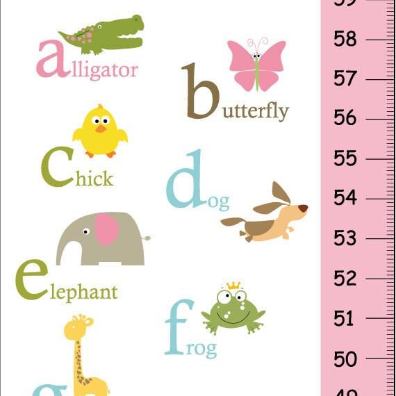 On Sale This Week Alphabet Animals Children Growth Chart Pink And