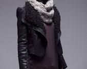 Jet black leather coat X018 / black jacket / faux winter coat warm jacket /shoulder pad deer skin/ zip coat/ fur collar