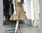 Cute silk spring dress in beige (JS131)